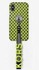 Michael Kors iPhone X/XS Neon Checkerboard Logo Leather Wristlet Case Genuine