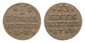 Braunschweig-Wolfenbüttel Karl I. (1735-1780) Denier (1/13 Mattier) 1758, ss