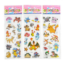 3 Sheets Pokemon Stickers Cute Pikachu Pocket Monster Scrapbooking Stickers