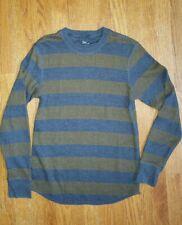 Gap Mens Thermal Tee Shirt Small Blue Brown Stripes crew neck long sleeve