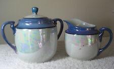 Vintage Blue Lusterware Creamer & Sugar Bowl with Lid Made in Japan