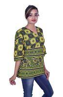 Indian Kurta Designer Women Ethnic Top Tunic Elephant print plus size Green