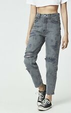 LF carmar gray bullet hole distressed high rise denim boyfriend jeans sz 26 $238