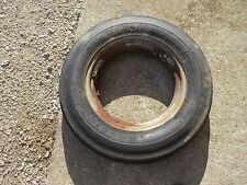 """Farmall A B C tractor 5.00 x 15"""" front IH open center rim w/ Armstrong tire"""