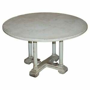 VINTAGE ANTIQUE FRENCH PAINTED ROUND DINING TABLE SEATS 4-6 PEOPLE PILLARD BASE