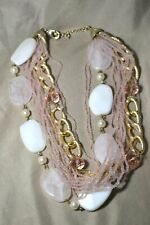 """Rose Quartz Seed Beed Chain Multi Strand Necklace 21"""""""
