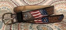 USA American Flag Stars And Stripes Full Grain Cowhide Leather Belt Size 28