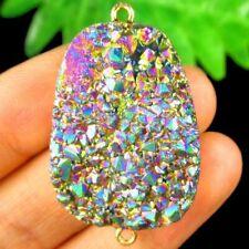 Wrapped Titanium Crystal Agate Druzy Quartz Geode Pendant Bead A04629