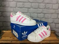 ADIDAS UK 4 EU 36 2/3 WHITE PINK CROCODILE SUPERSTAR TRAINERS LADIES CHILDRENS
