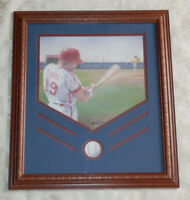 Vtg HOMCO Home Interiors Picture Baseball Player Home Plate Ornate Wood Frame