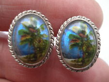 C1950S VINTAGE SILVER&BUTTERFLY WING PALM TREE DESIGN LADIES EARRINGS
