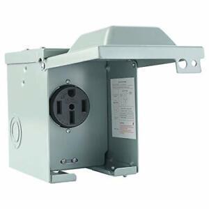 Cables de ocio 50 Amp 125/250 Volt RV Power Outlet Box Enclosed NEMA 14-50R