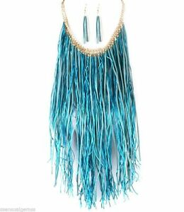 New Fringes Woman Bib Necklace & Earrings Set Aqua