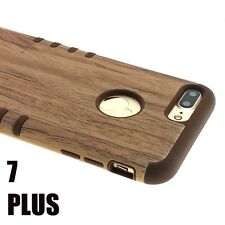 For iPhone 7+ Plus - HYBRID HARD&SOFT RUBBER ARMOR CASE COVER PLASTIC BROWN WOOD