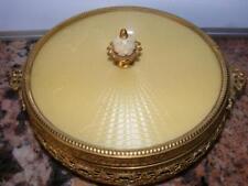 Antique Large Guilloche Enamel Round Ormolu Jewelry Glass Trinket Box Gilt Gold