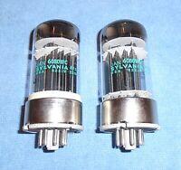 2 NOS Sylvania JAN 6080WC Vacuum Tubes - Vintage Ruggedized 6AS7 Twin Triodes