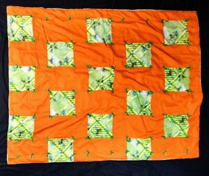 """Hawaiian Vibrant Floral Handmade Knotted Patchwork Quilt Blanket Throw 58"""" x 44"""""""