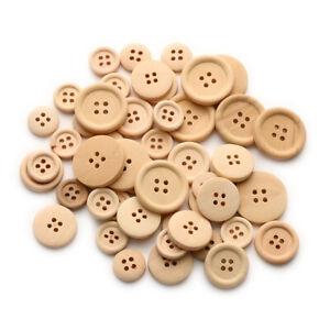 100 Holzknöpfe Knöpfe Mix Natur Knopfmischung Holz Bastelknöpfe Basteln