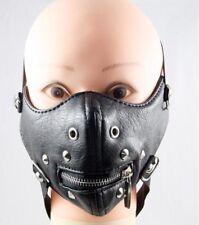 Punk Spike Half Face Mask Zipper Biker Motorcycle Rave Mask Cool Unisex Leather