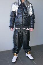 ☆—Karl Kani—Glanz—Shiny—Vinyl—Baggy—Trackies—Tracksuit—Hip Hop—Pants—Black—Chav