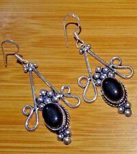 "Girl,s Earrings Jewelry 2.75 ""Inch Aur374 Black Onyx 925 Sterling Silver Overlay"