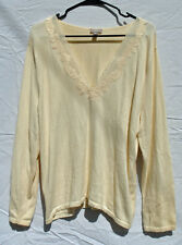 J Jill Ivory V-Neck Sweater size XL Cotton Angora Rayon Blend Lace Trim  Pullover 7ab1fe9ba