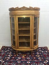 Vintage Reminiscence Dollhouse Glass Golden Oak  Front Bowed China Cabinet  Box