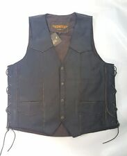 Dark Brown Leather Motorcycle Vest, Single Panel Back, Side Lace 54 Unik Premium