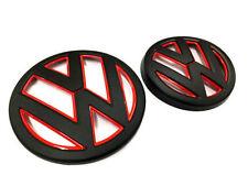 MATTE BLACK Red MK7 GTI GOLF R Volkswagen Front+Rear Badge Grille Hatch Emblems