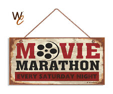 Movie Marathon Sign, Retro CINEMA Sign, Move Room Decor, 5 x 10 Wood Sign