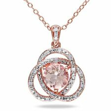 """Pink Sterling Silver Morganite and 1/10 ct TDW Diamond Pendant Necklace 18"""""""