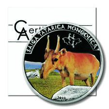 Mongolia Saiga Antelope 500 Tugrik 2011  Proof Colored Silver Crown COA