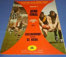 1972 Semi Final 2 AFL VFL Football Footy Record Collingwood V St Kilda Souvenir