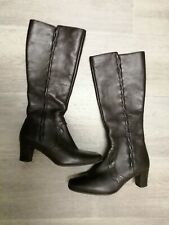 K by CLARKS LEATHER BROWN KNEE BOOTS SIDE ZIP SIZE UK 4 E EXCELLENT CONDITION