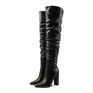 Womens Chic Pointed Toe Pleated Over The Knee Boots Block High Heel Knight Shoes