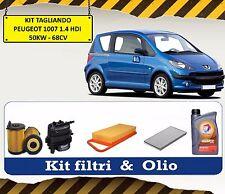 KIT TAGLIANDO OLIO TOTAL + 4 FILTRI PEUGEOT 1007 1.4 HDI 50 KW 68 CV