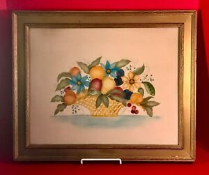 "Framed Folk Art Theorem Painting on Velvet Fruit in Basket Signed 22.5"" x 18.5"""