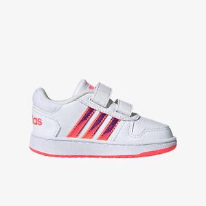 Scarpe Bambina Adidas Hoops  fw7614 bianco fluorescente Sneaker Sportiva strappo