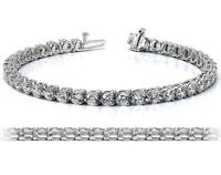 2.65 CT G/VS2 ROUND CUT NATURAL REAL DIAMOND TENNIS BRACELET 14K WHITE GOLD