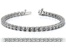 5.60 Carat Round Certified Diamond Tennis Bracelet 14k White Gold