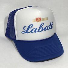 Labatt Canadian Beer Brewery Vintage 80's Trucker Hat Snapback Mesh Cap Blue