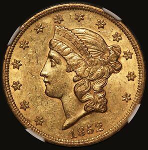 1852 U.S. Liberty Head $20 Double Eagle Gold Coin - NGC AU 55