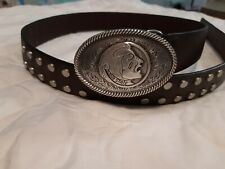 Studded Brown Leather Belt with Florida State University Seminoles Buckle 42