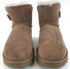 UGG Womens Mini Bailey Button II Sheepskin Boot - Chestnut US Size 8