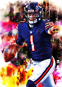 2021 Justin Fields Chicago Bears 9/25 ACEO Fine Art Print Card By:Q