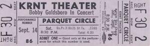 BOBBY GOLDSBORO 1968 HONEY TOUR UNUSED KRNT CONCERT TICKET / NMT 2 MINT No. 2