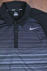 Nike Dri-Fit Advantage UV Stripe Tennis Polo Shirt Black Men's Large L