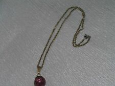 925 Marked Goldwashed Twist Chain with Vintage Cranberry Glass Bead Pendant Neck