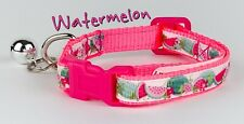 """Watermelon cat or small dog collar 1/2"""" wide adjustable handmade bell leash"""