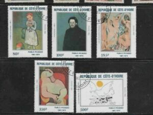 IVORY COAST #646-650 1982 PICASSO PAINTINGS MINT VF NH O.G CTO